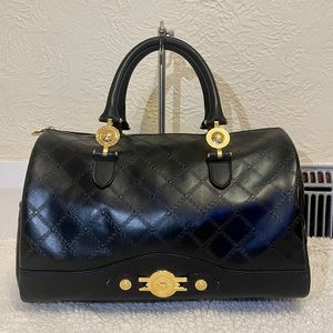 rare VERSACE one fits all leather satchel in black